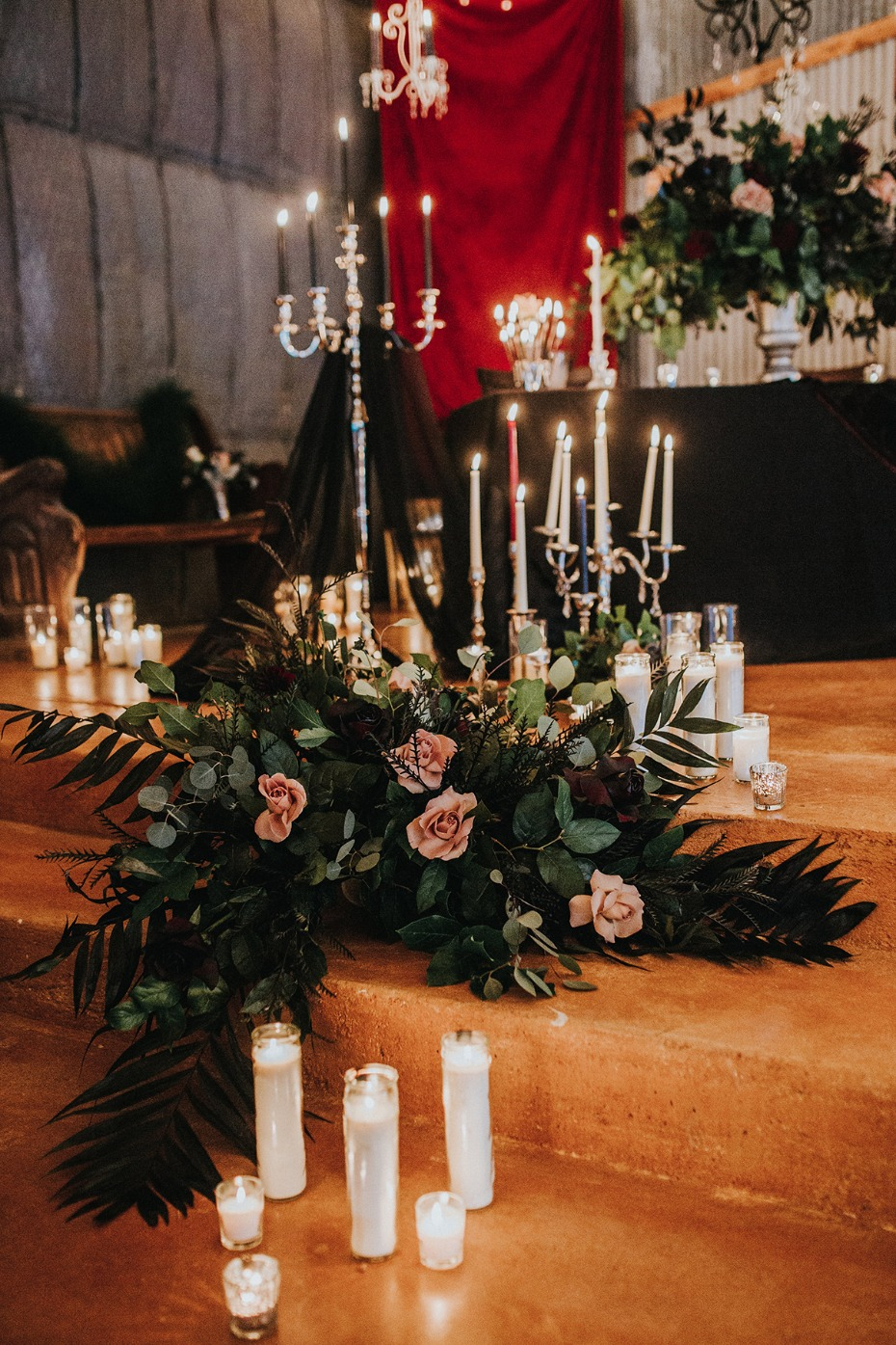candles and flowers for your dark dramatic wedding