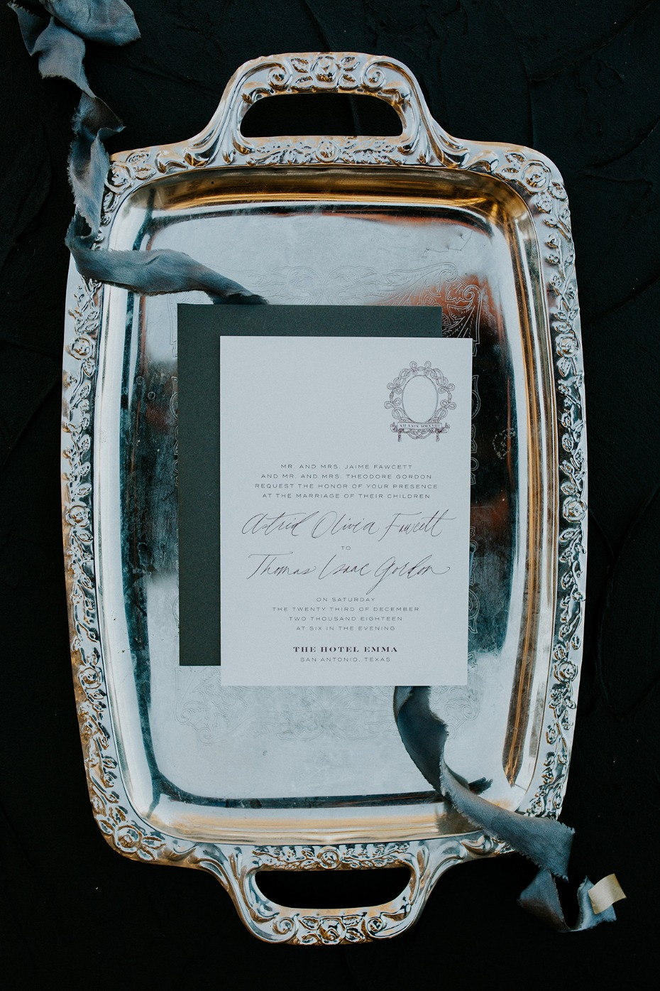 wedding invitations in silver and white
