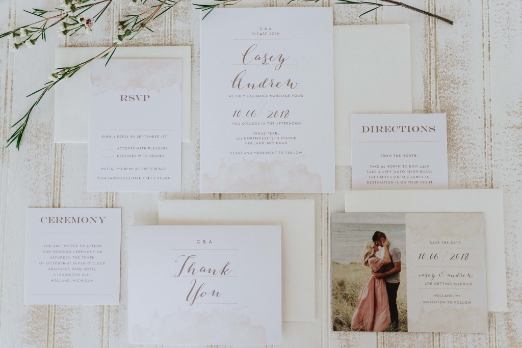 A modern look with an earthy romantic twist. Our modern gold wedding invitation suite is customizable in over 180 colors. Each of which