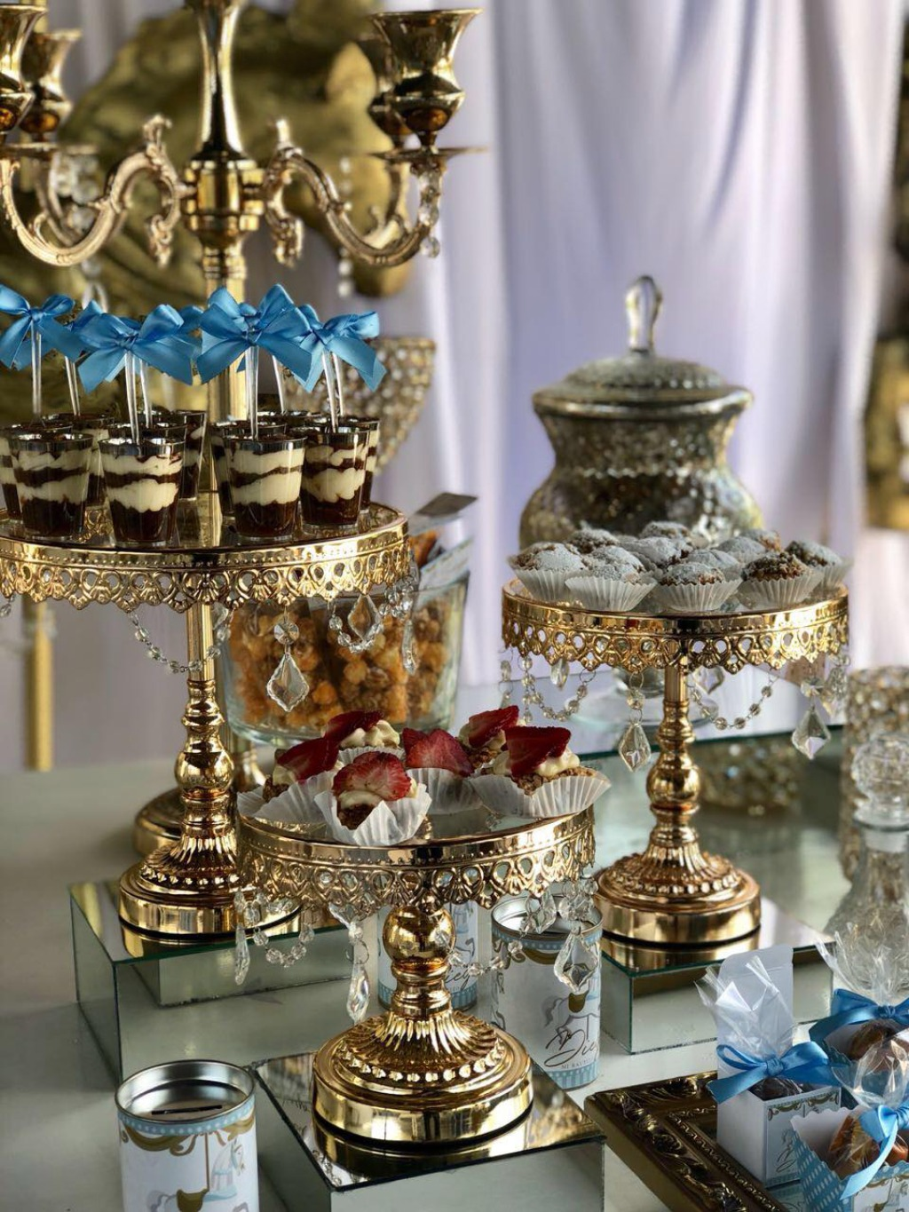 Shiny Gold Chandelier Dessert Stands...Opulent Treasures collection of cake stands, dessert stands, cupcake stands & more can help