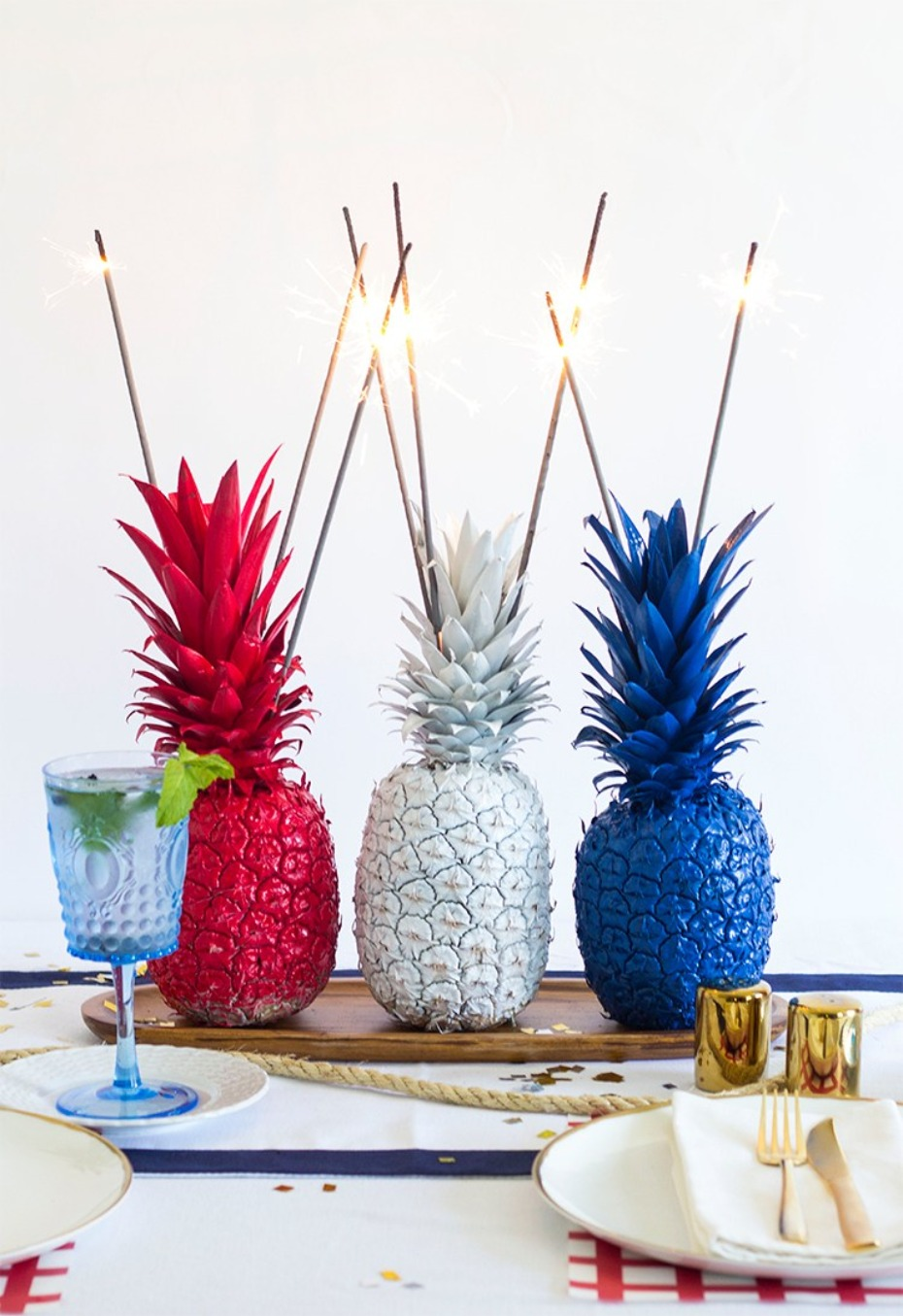 4th of July pineapple centerpiece