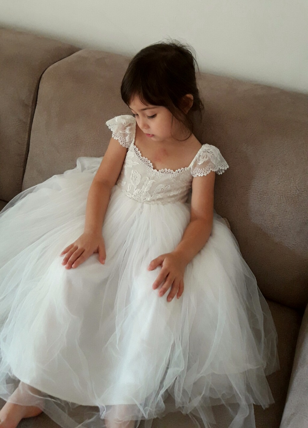 French Lace and Silk like soft tulle dress for a flower girl