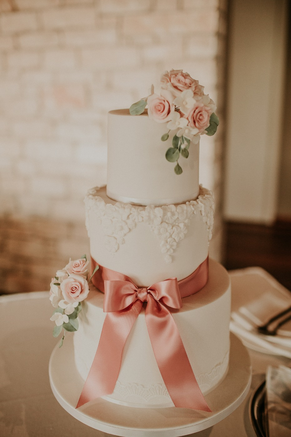 romantic soft pink floral wedding cake
