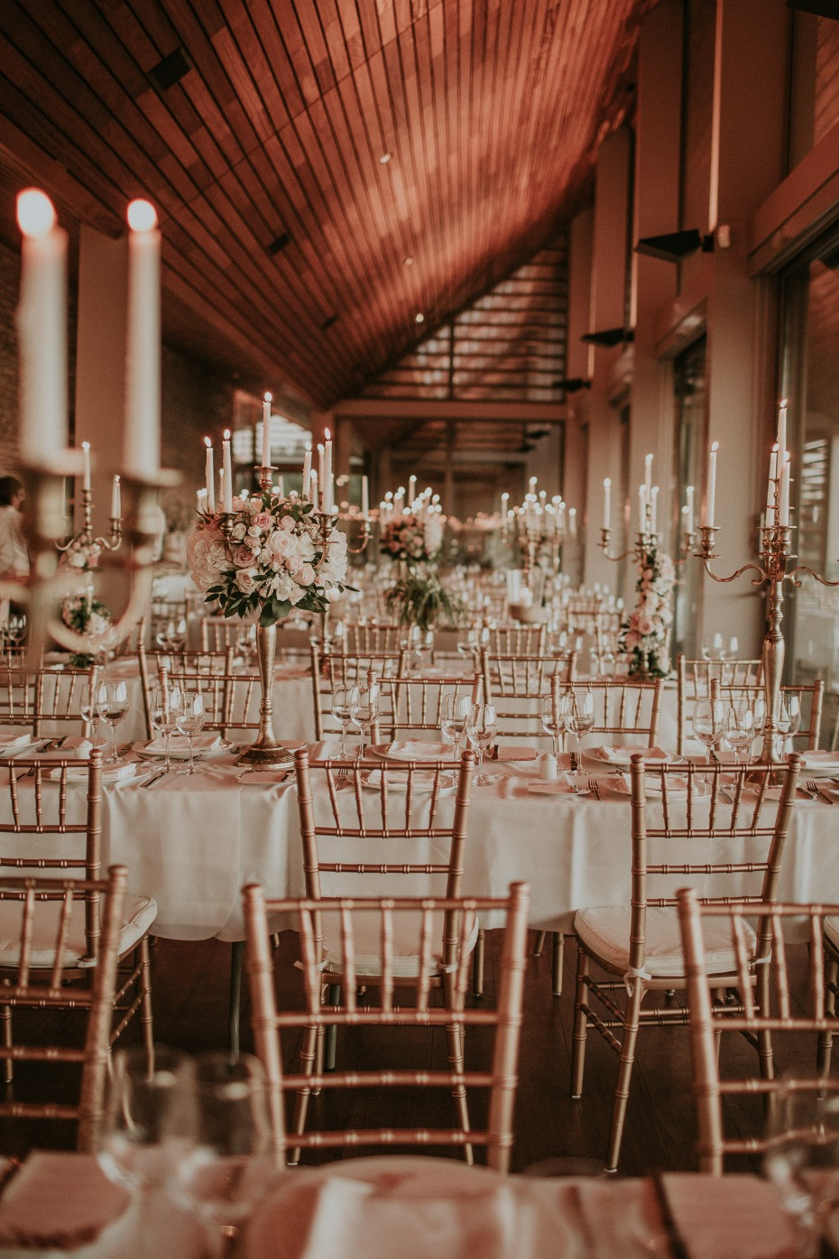 romantic candle lit wedding reception