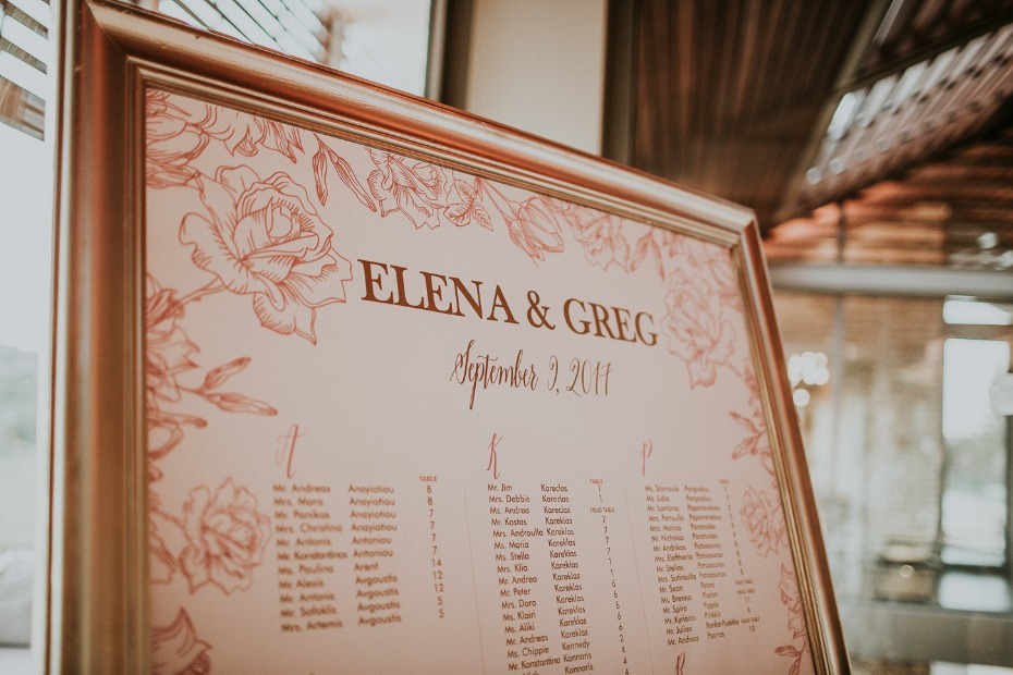 rose gold seating assignment