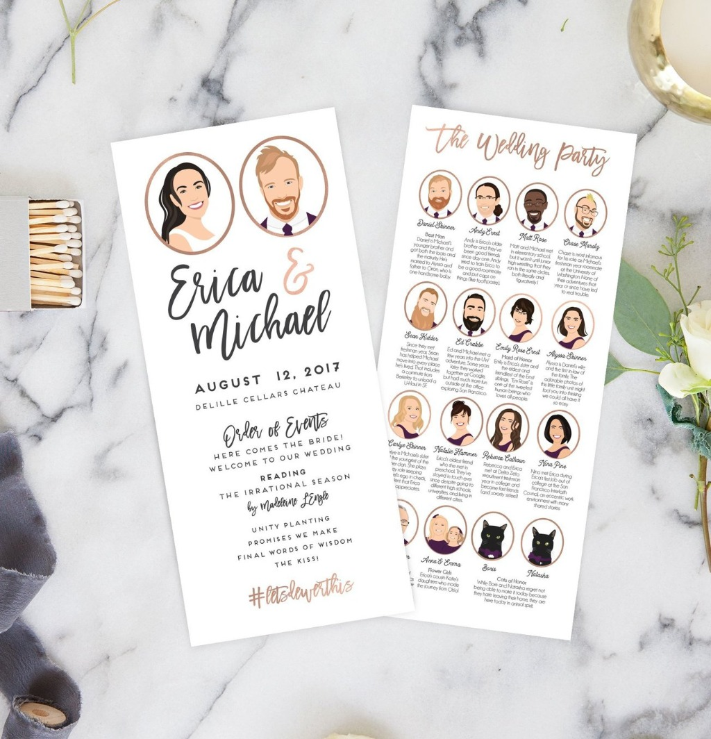 Programs are super awesome to have on your big day because they let your guests know the order of events! Multiple Portrait Programs