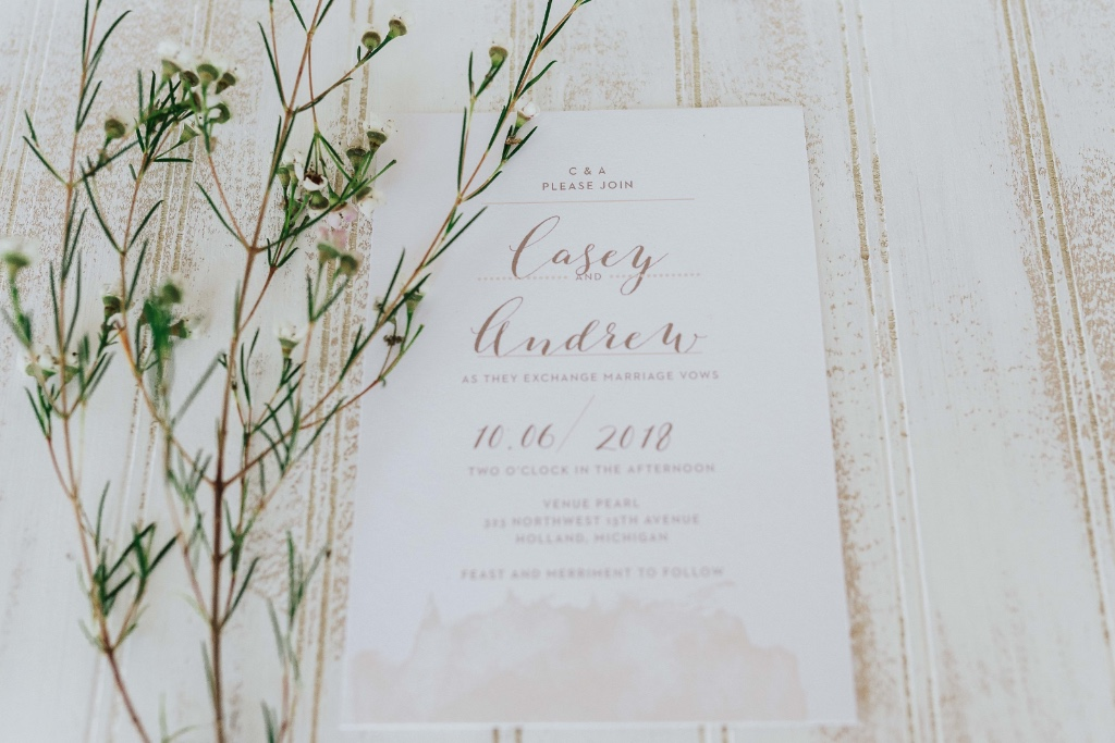 Modern with a rustic feel. This Modern Gold Wedding Invitation stands on it's own! Customize yours today.