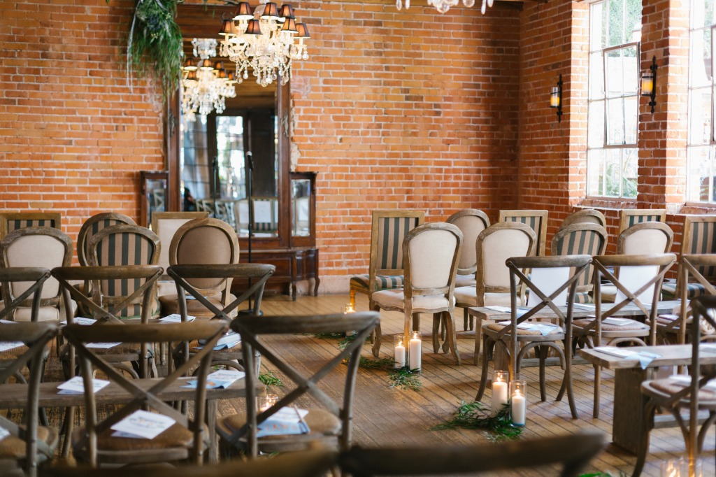 loved the candle-lit rustic vibes at the Carondelet House wedding! I'm such a sucker for exposed brick