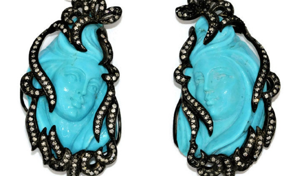 One of a kind Hand carved turquoise earrings that will help you to stand out from the crowd.