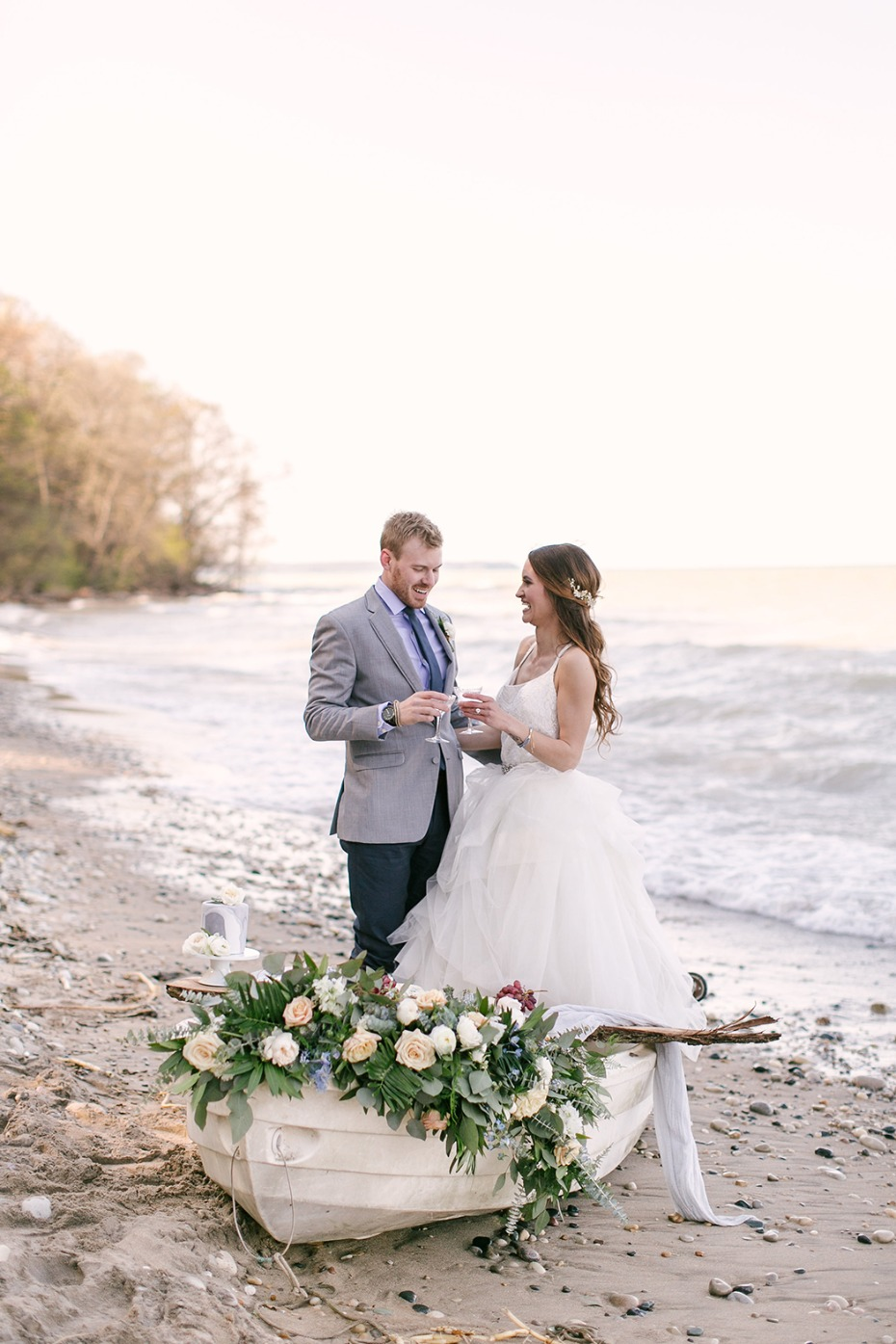 sweet bride and groom at the beach