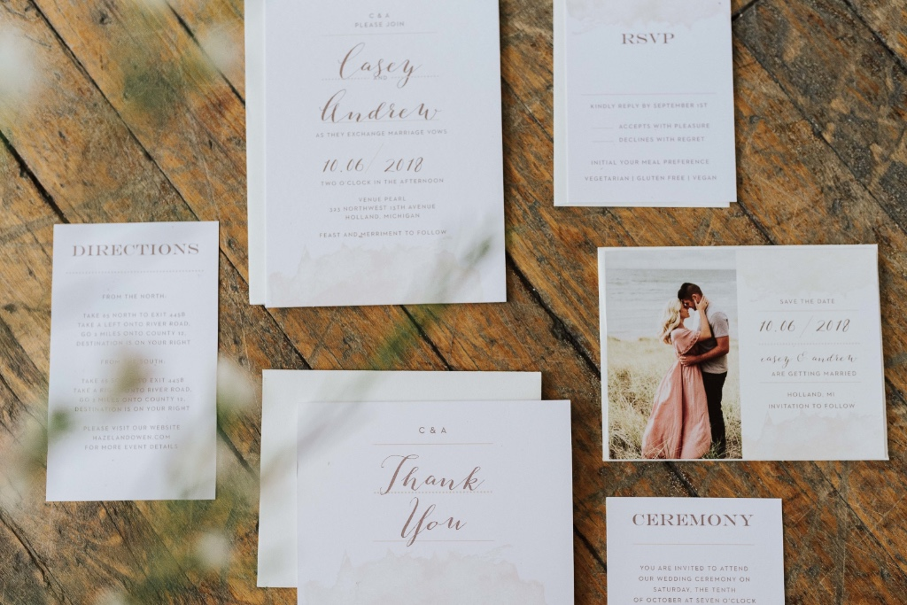 Stunning. Romantic. Totally Custom. The Modern Gold Wedding Suite with a photo save the date and thank you note to match!
