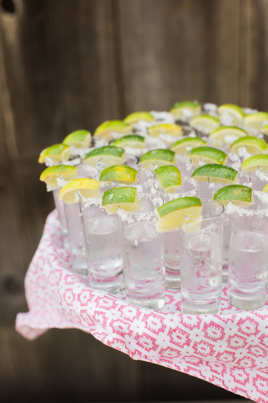 Tequila shots for a wedding
