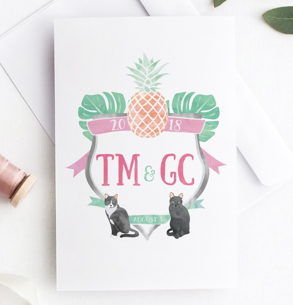 If you're looking for the perfect Wedding Watercolor Crest, look no further!! Miss Design Berry will take your initials, wedding colors