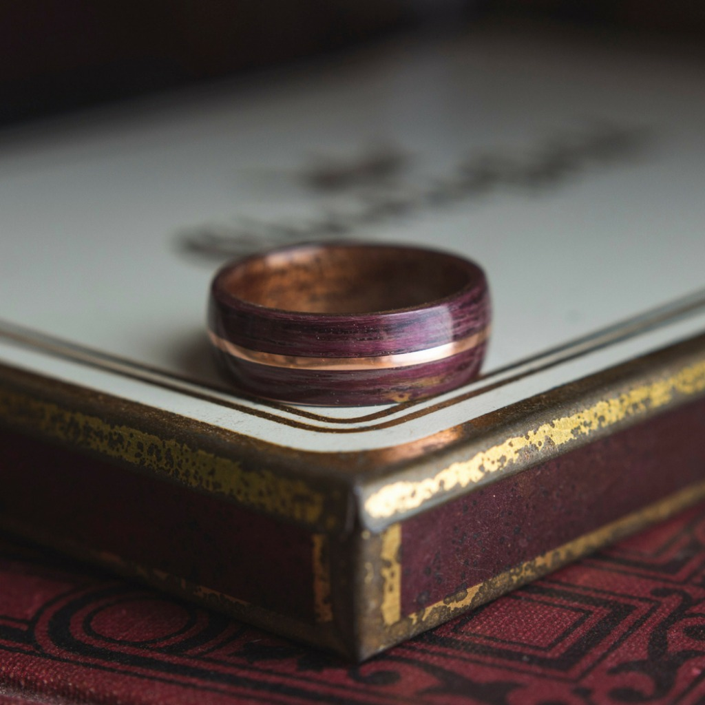 Mens Purple Heart Bentwood Ring With Rose Gold Copper Inlay. Made from all organic materials and crafted my hand.