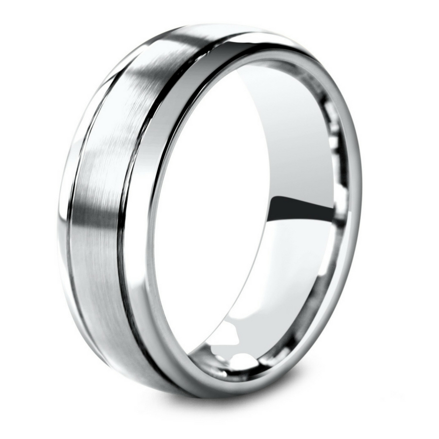 The New Classic Wedding Ring. Men's silver wedding band with a brushed textured center. Extremely durable and comfortable.