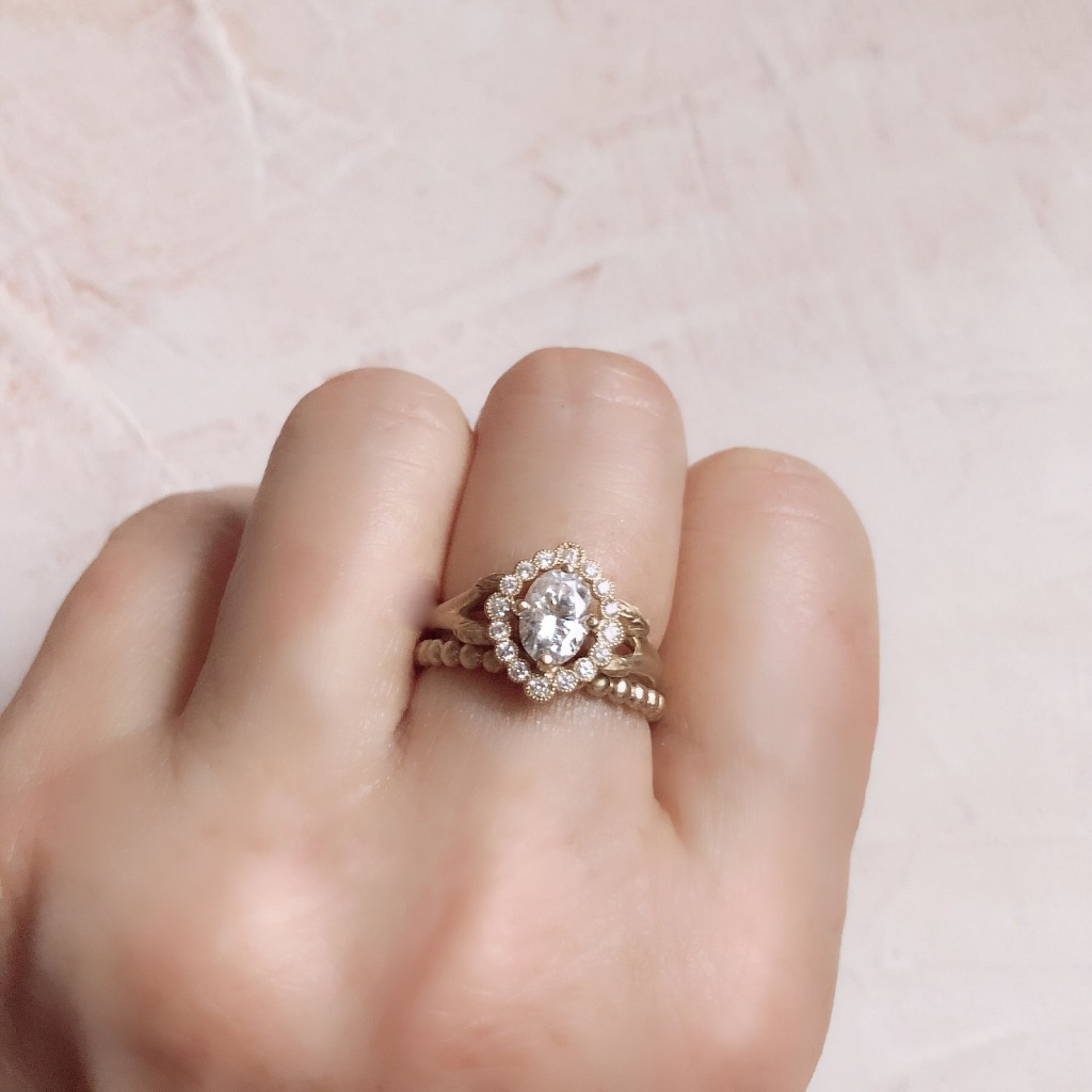 The Dahlilah Ring and the Dewdrop wedding band. A true vintage style Edwardian Era treasure.