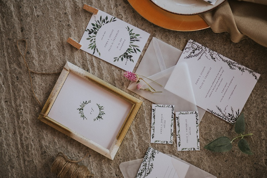 organic style wedding stationery