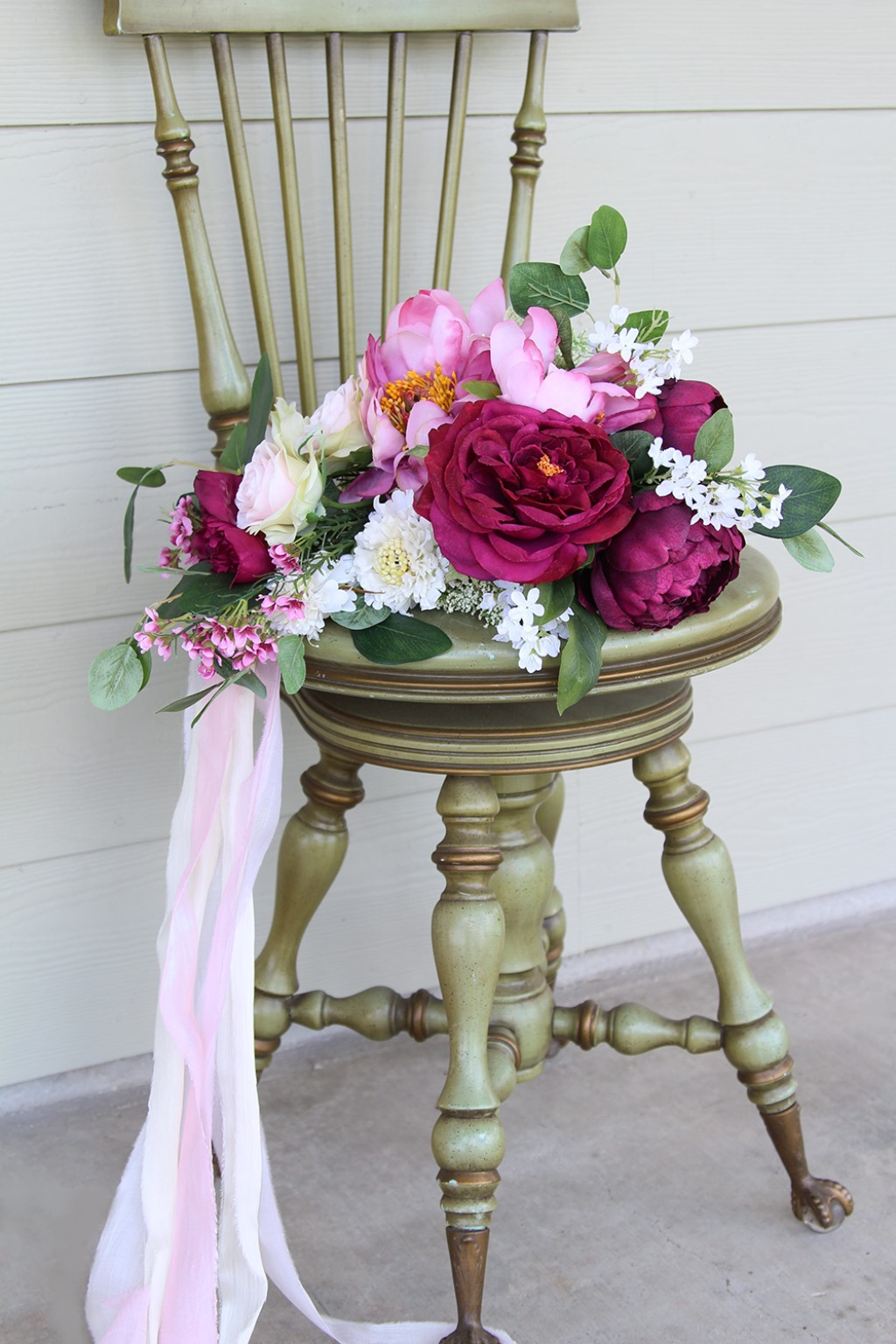 Fuchsia and pink keepsake silk flower wedding bouquet by Southern Girl Weddings