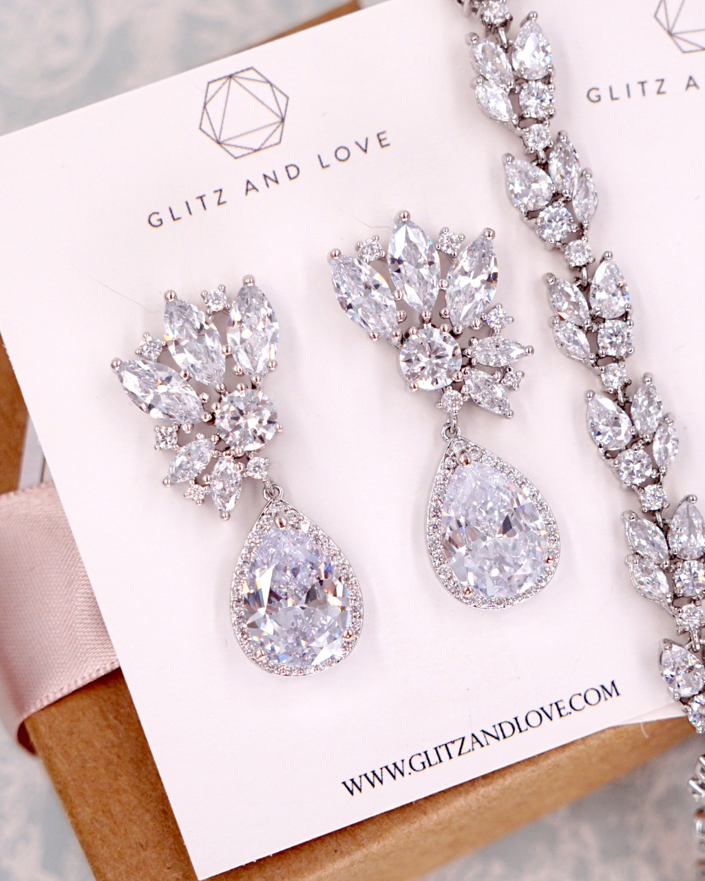 Silver CZ Clusters Teardrop earrings, bridal, brides, bridesmaids, fancy, elegant, wedding, jewelry set, www.glitzandlove.com