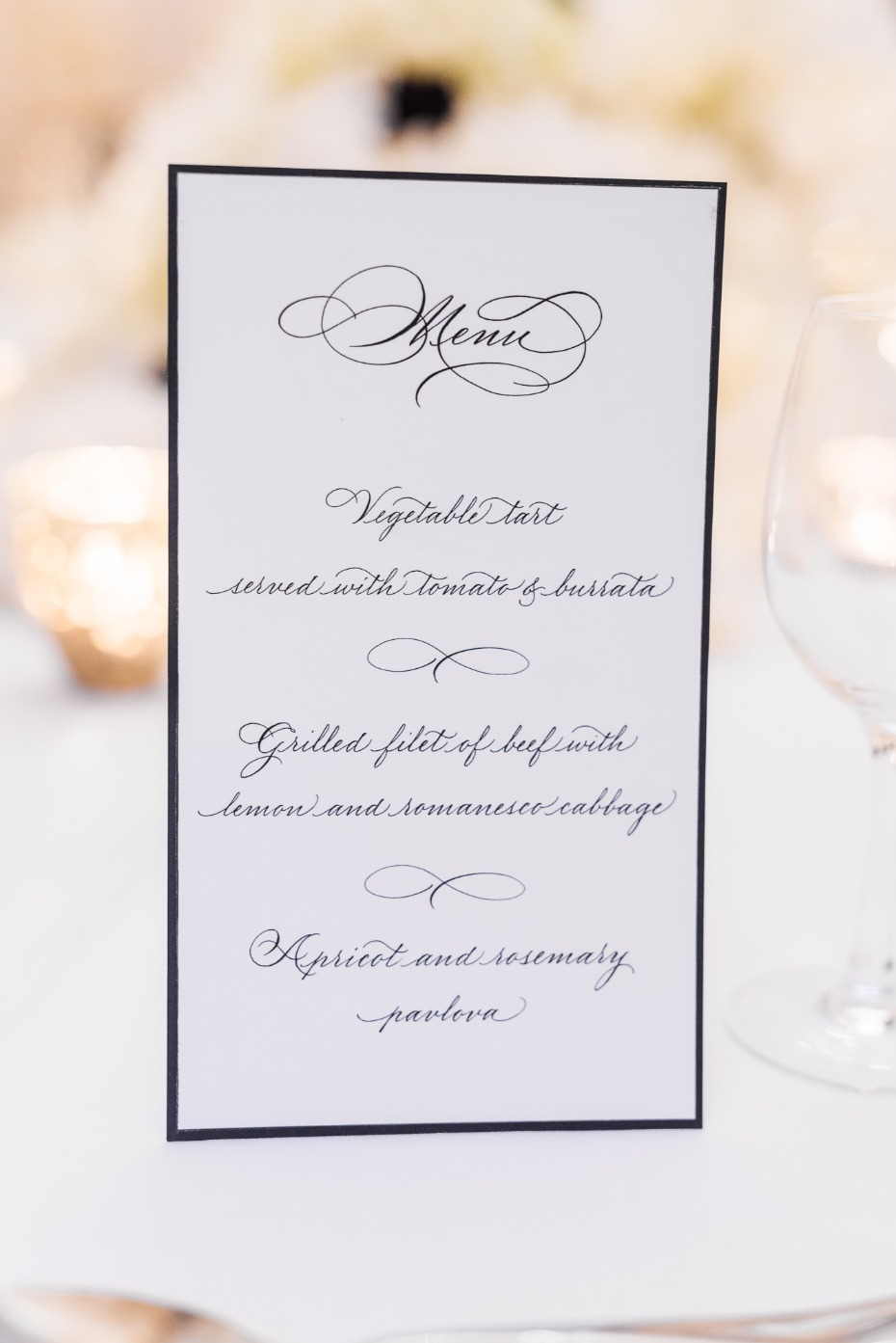 Classic menu for a Paris wedding