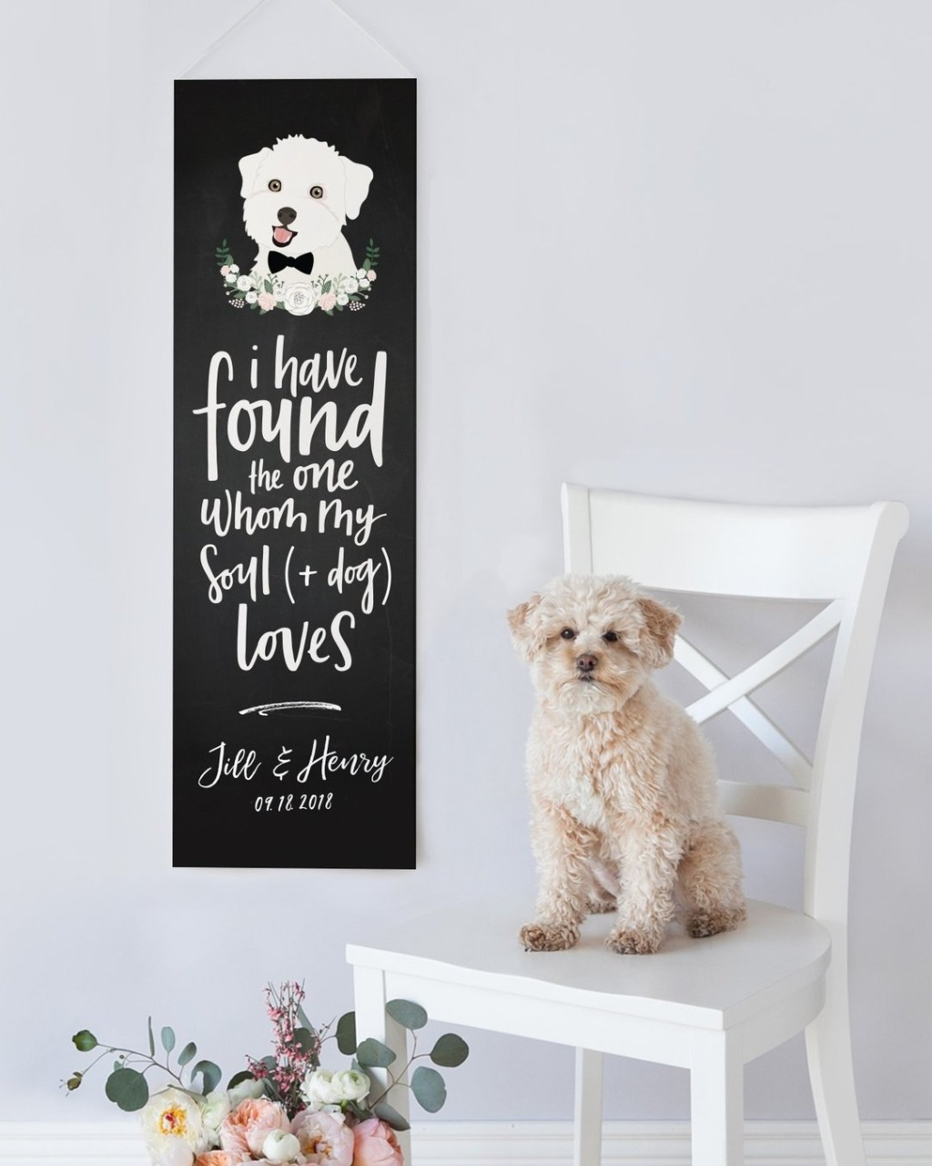 This Chalkboard Inspired Wedding Banner With Your Pet's Portrait from Miss Design Berry is the BEST wedding decor you could ask for