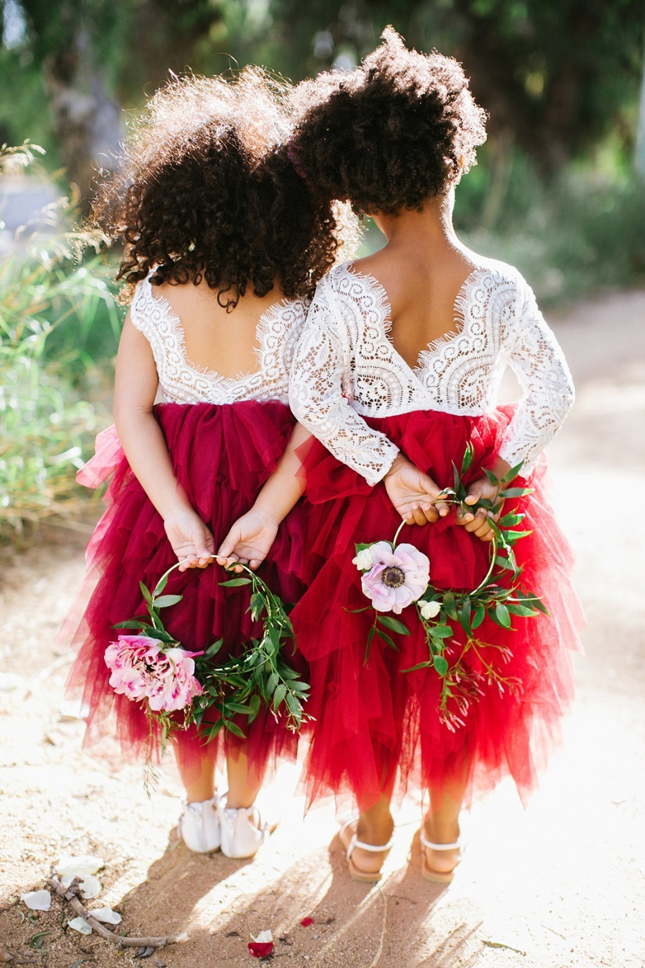 Cute little flower girls with simple hoop bouquet