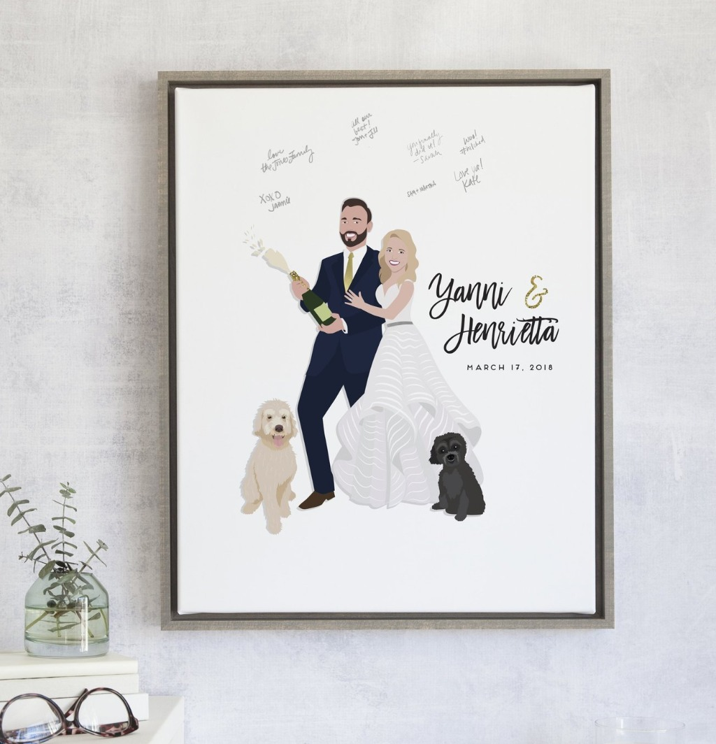 Celebrate your big day the right way with this Champagne Popping Couple Guest Book Alternative!! You choose your font and color palette