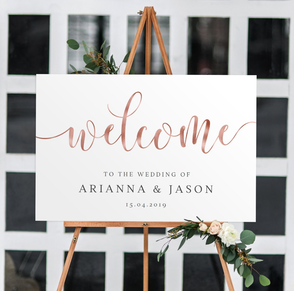 Digital Welcome Sign with Copper Faux Foil | High resolution PDF provided so you can print yourself | Faux foil can be changes to gold