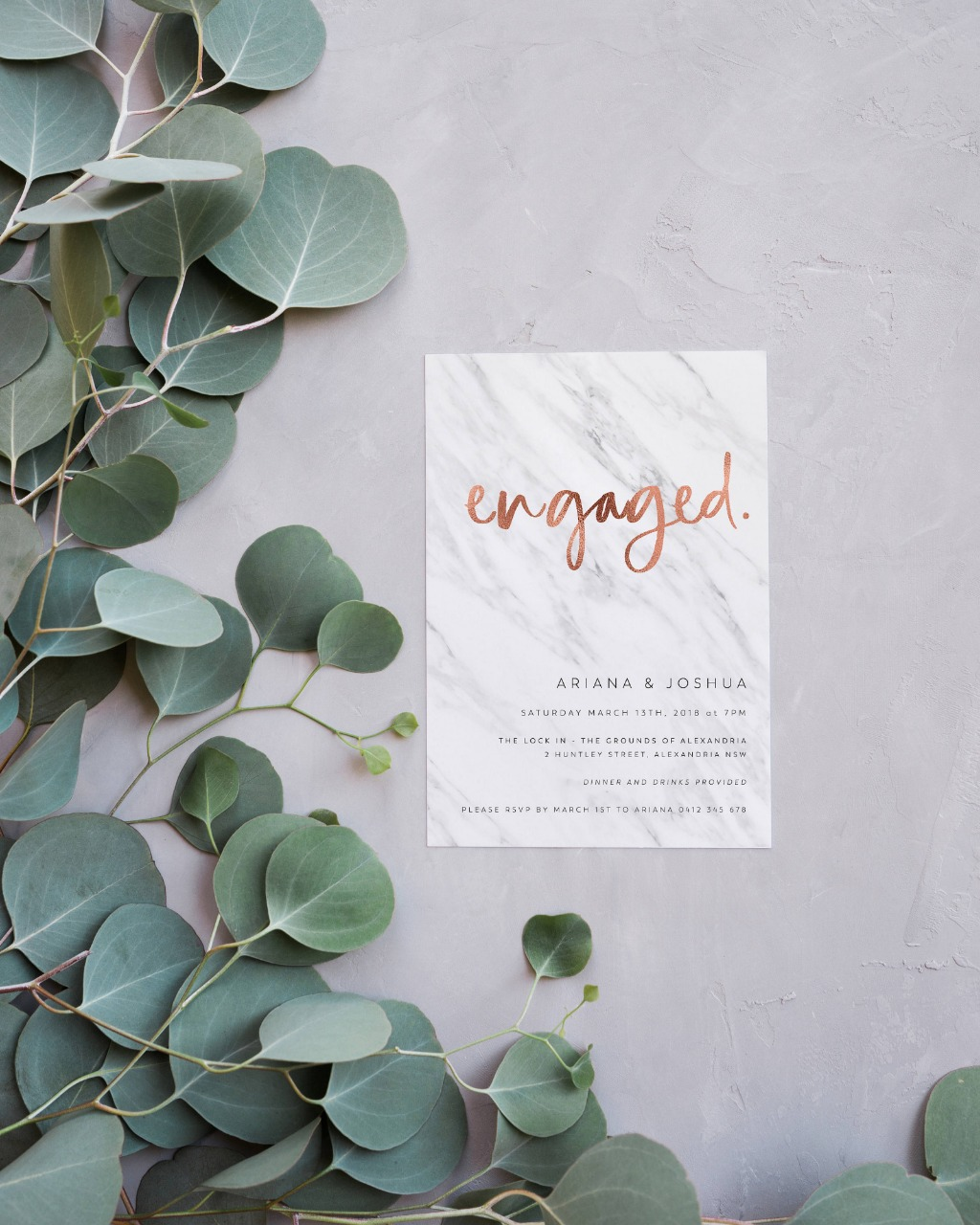 Marble & Faux Foil | 15% off printed engagement invitations this month on Paper Minx Designs