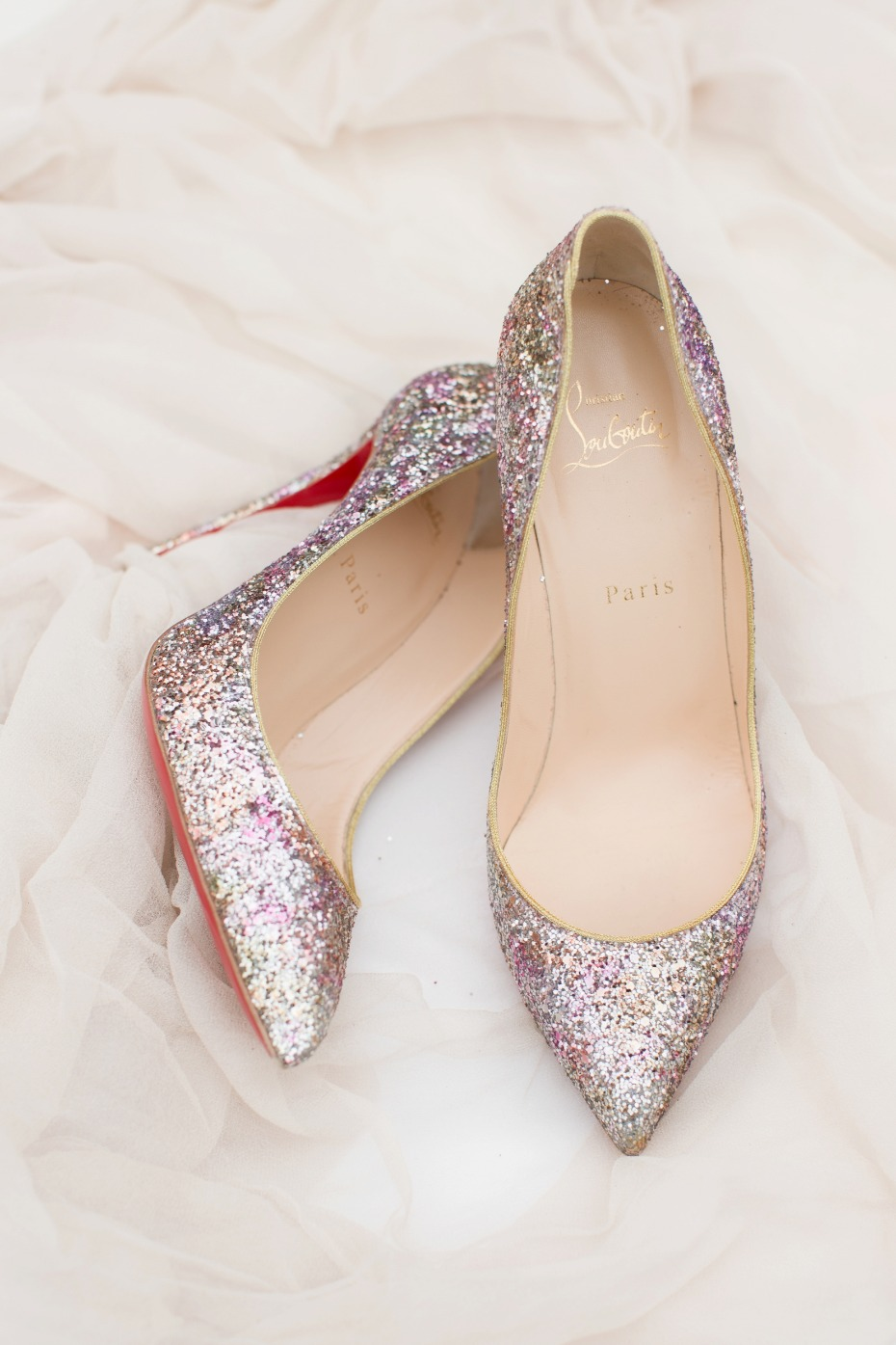 Sparkly Louboutin pumps for the bride