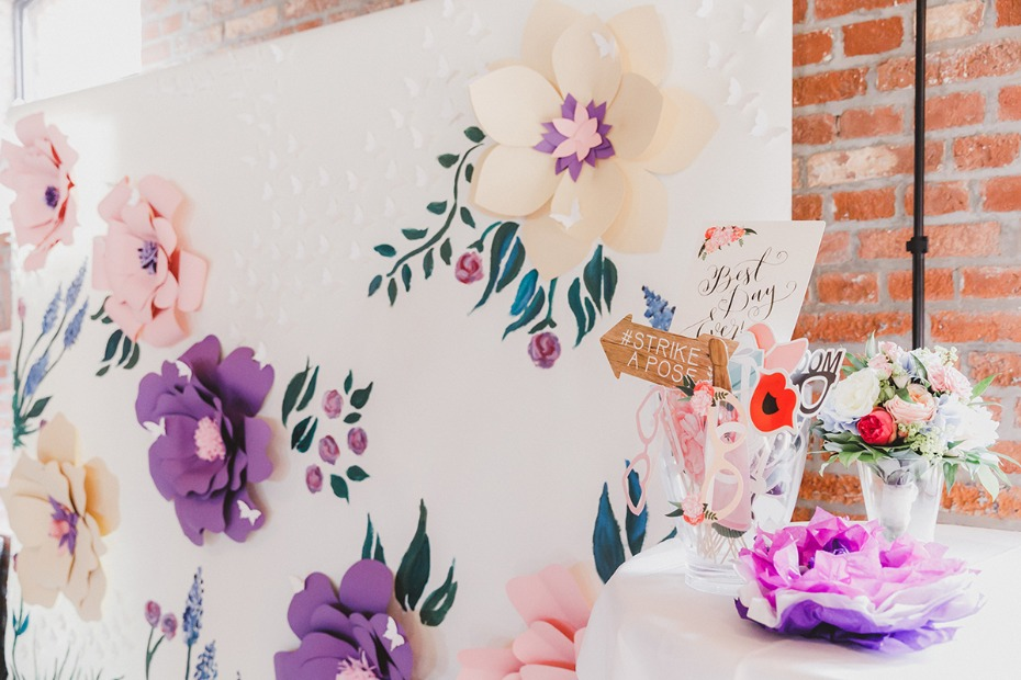 paper flower photo wall
