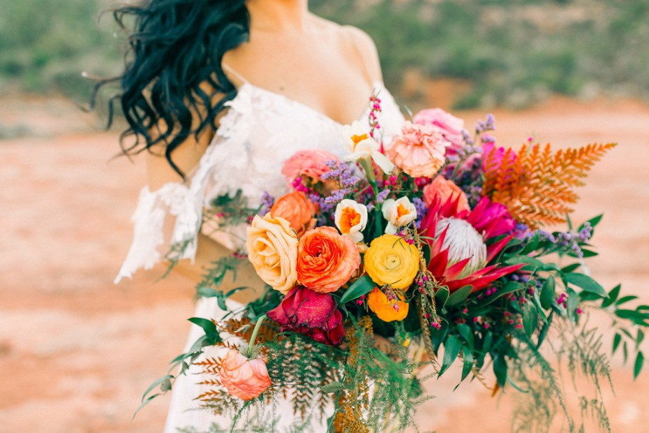 brightly colored wedding bouquet for your desert wedding
