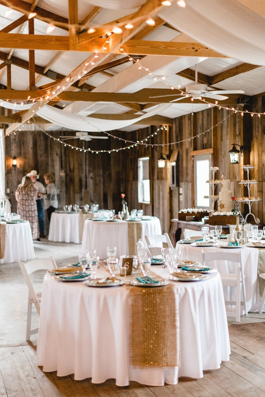 Rustic reception for a barn wedding