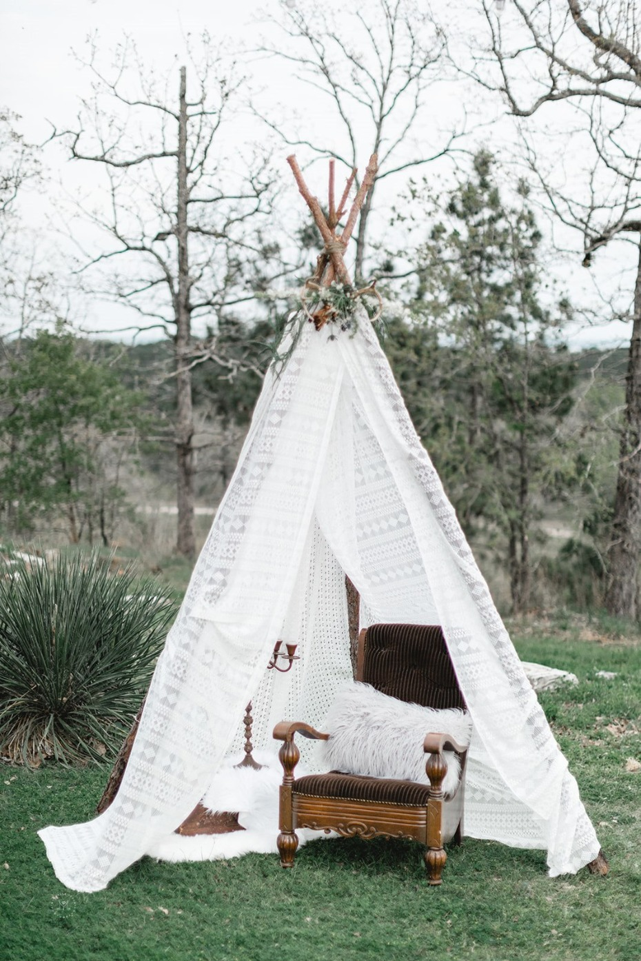 Lace wedding teepee lounge area
