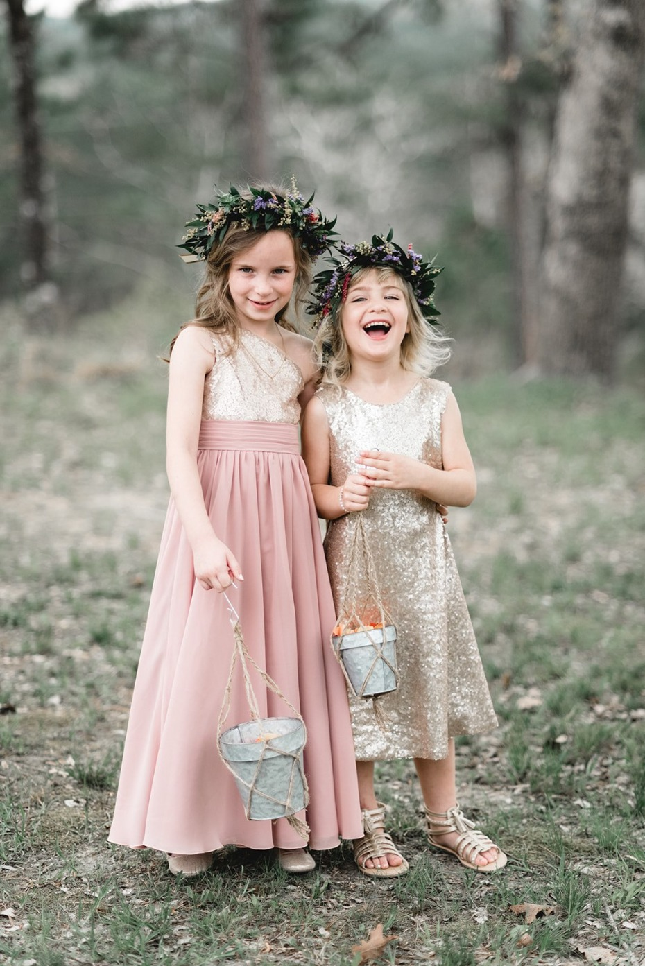 Cute flower girls in sparkly dresses