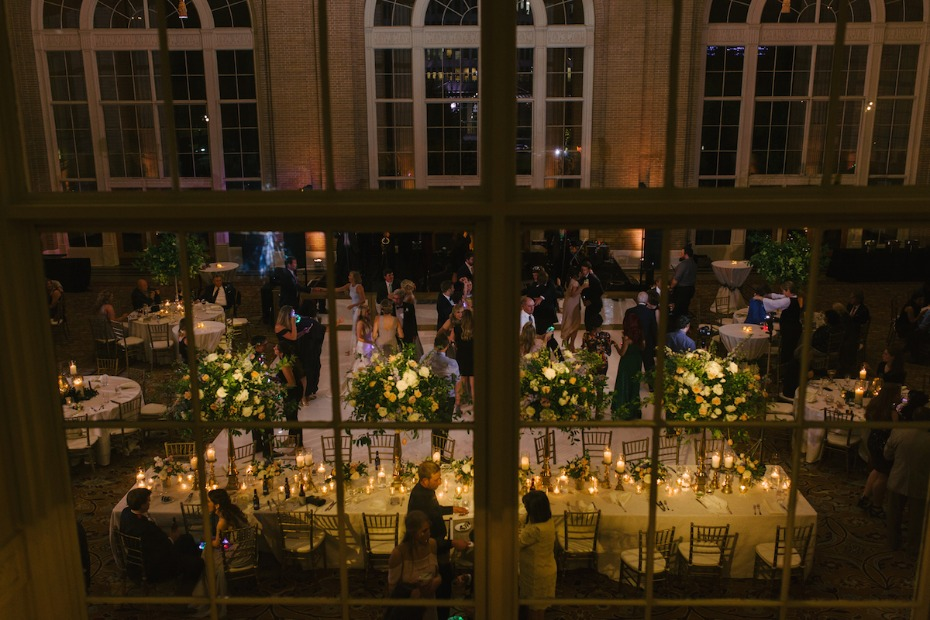 glowing wedding reception