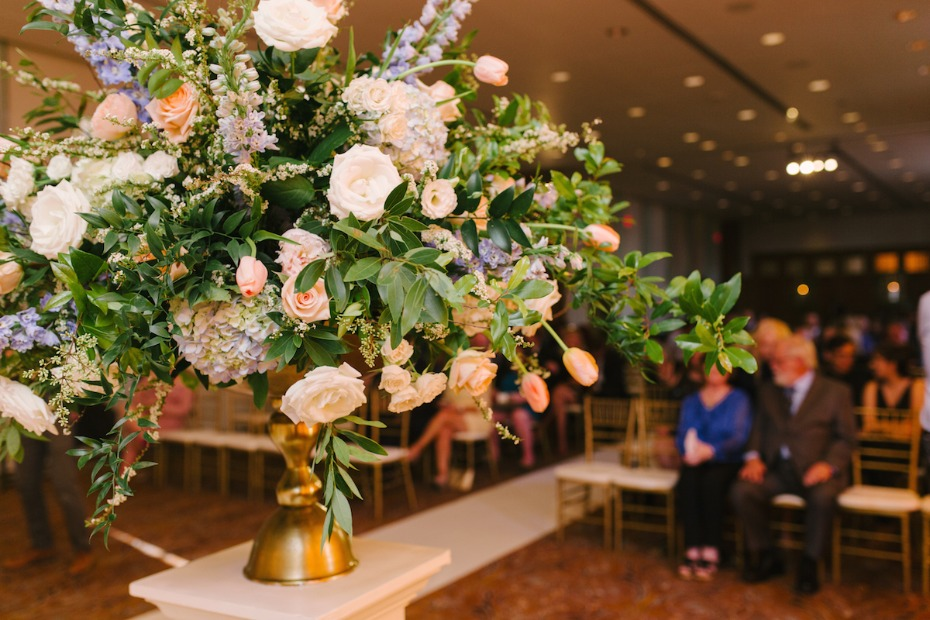 floral decor on pedestals