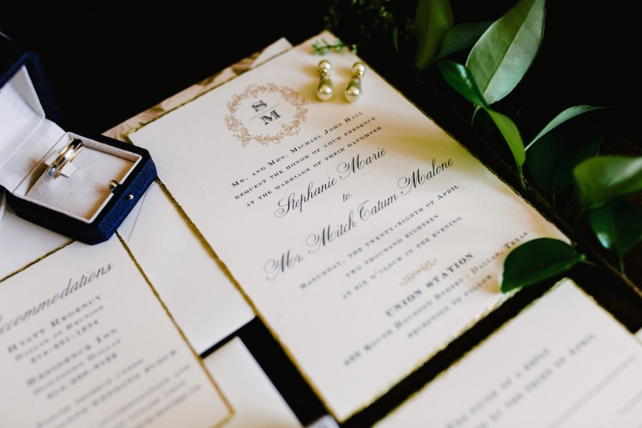 wedding invitation suite with elegant monogram