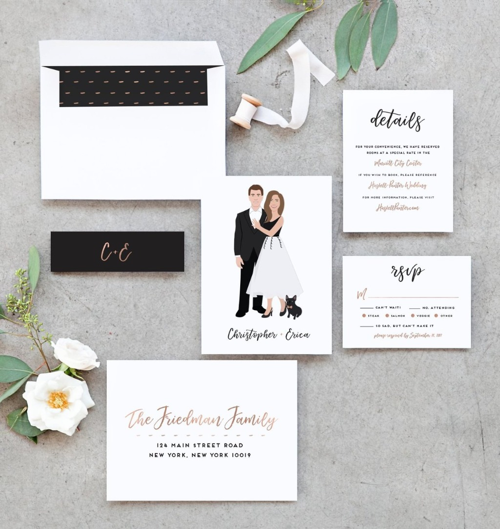 Are you looking for an invitation suite that matches you and your big day vision?? This Couple Portrait Invitation Suite by Miss Design