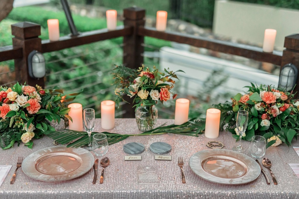 Blush and copper table setting by https://www.brisbaneweddingdecorators.com.au/ceremony-locations/kangaroo-point-wedding-parks/