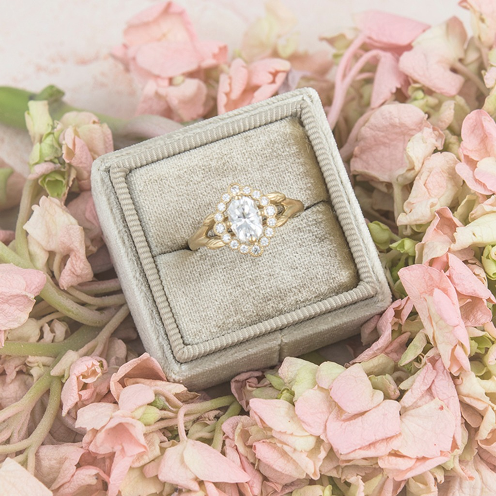 It really does all start with the ring. Our Dalilah vintage inspired halo ring in 14k gold. Did you know we also can work with your