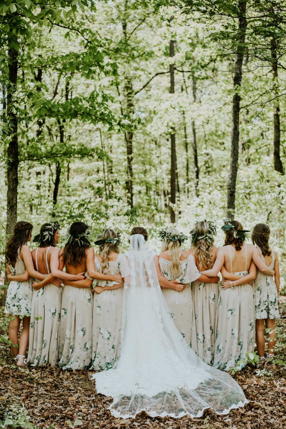 Bridesmaids Standing in Forest