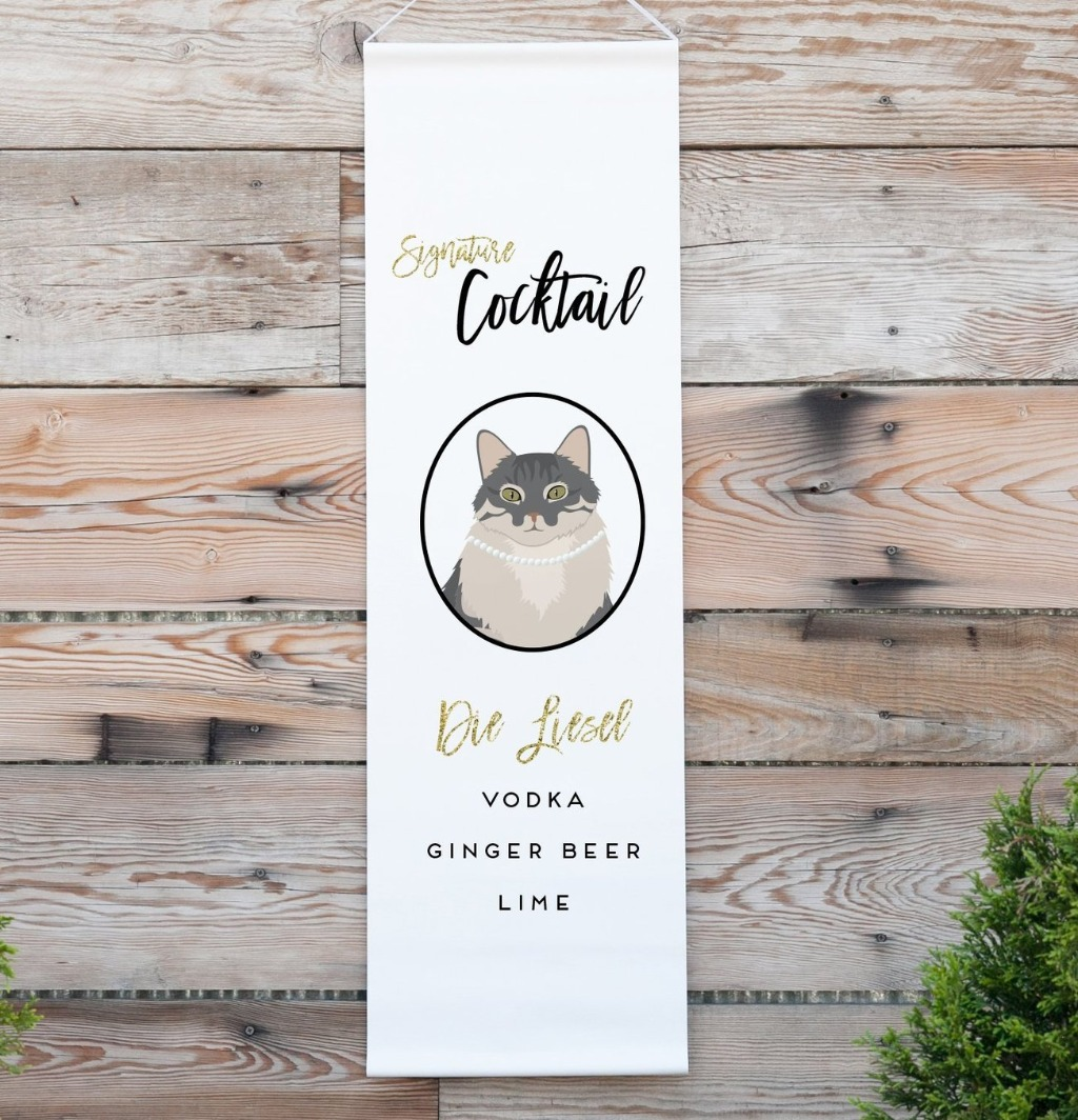 This amazing Personalized Signature Cocktail Wedding Banner featuring YOUR Pet from Miss Design Berry is the perfect wedding decor