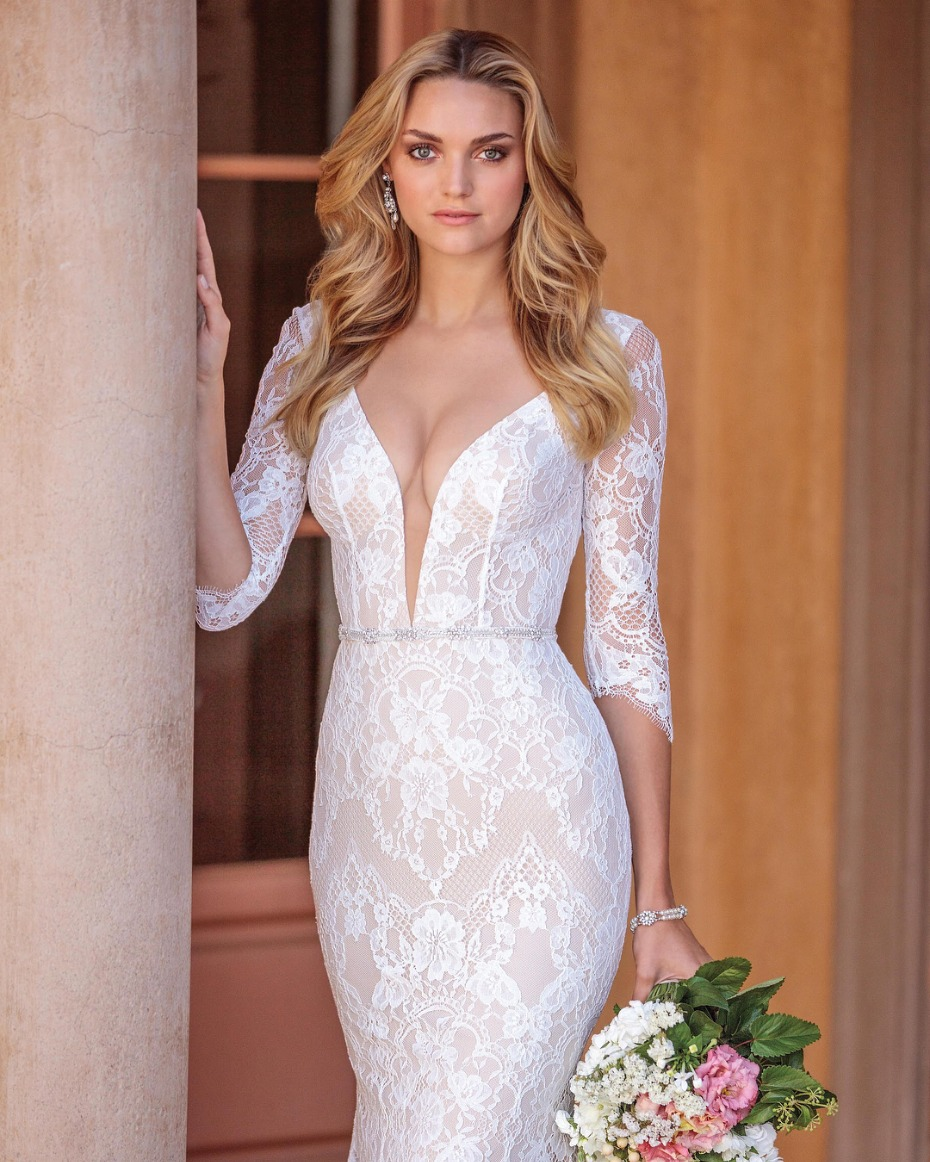 Casablanca Bridal Style 2331 Ainsley Gown: Nude chiffon lace fit and flare with 3/4 length sleeves, low scoop back and plunging neckline