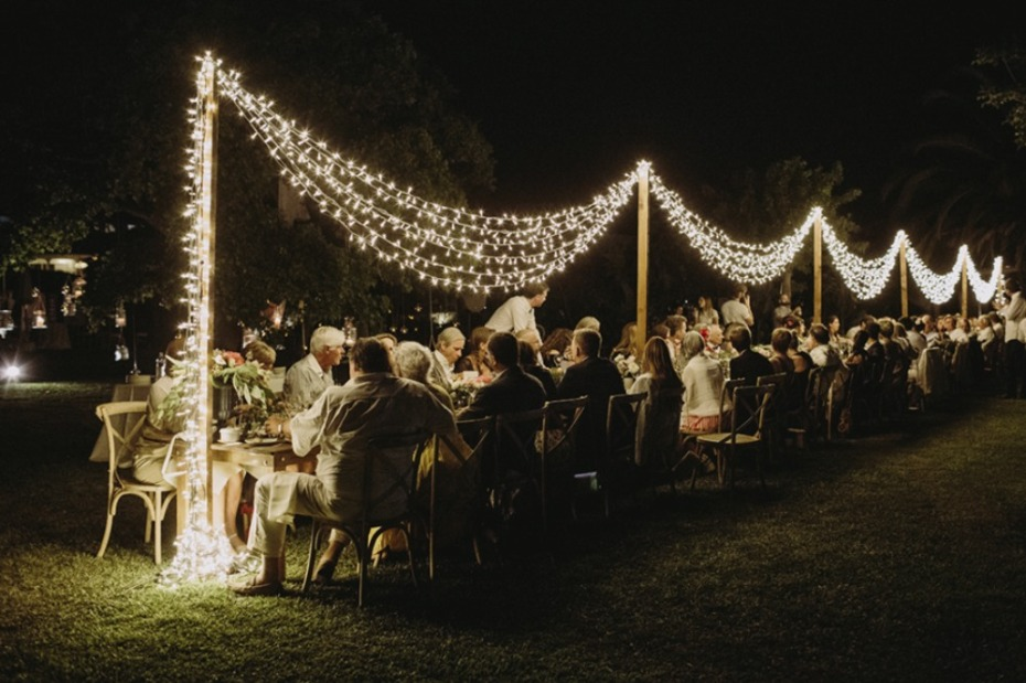 twinkle light swag lighting for your reception tables