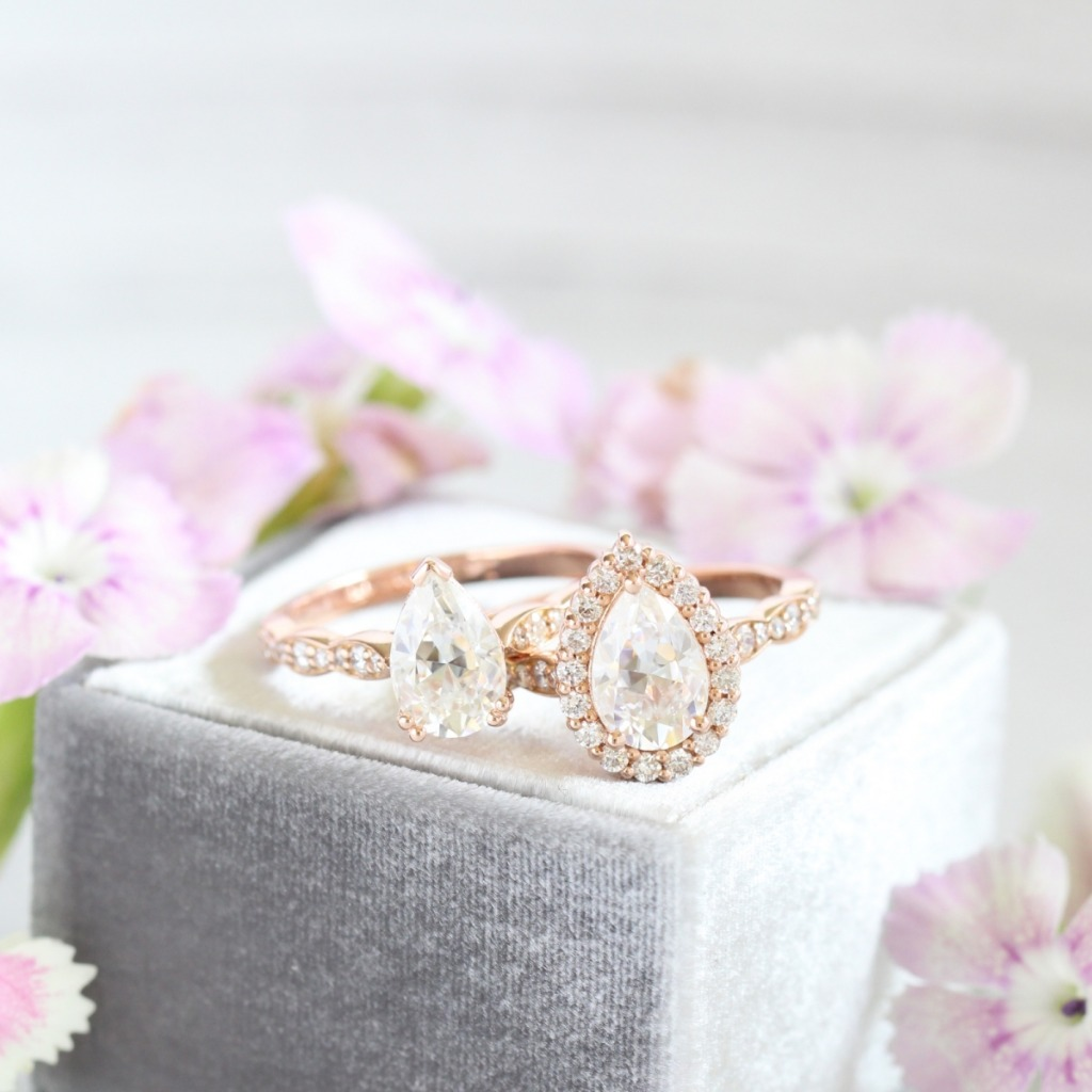 Solitaire or Halo? We want to know! Click the photo to see more pear engagement rings!