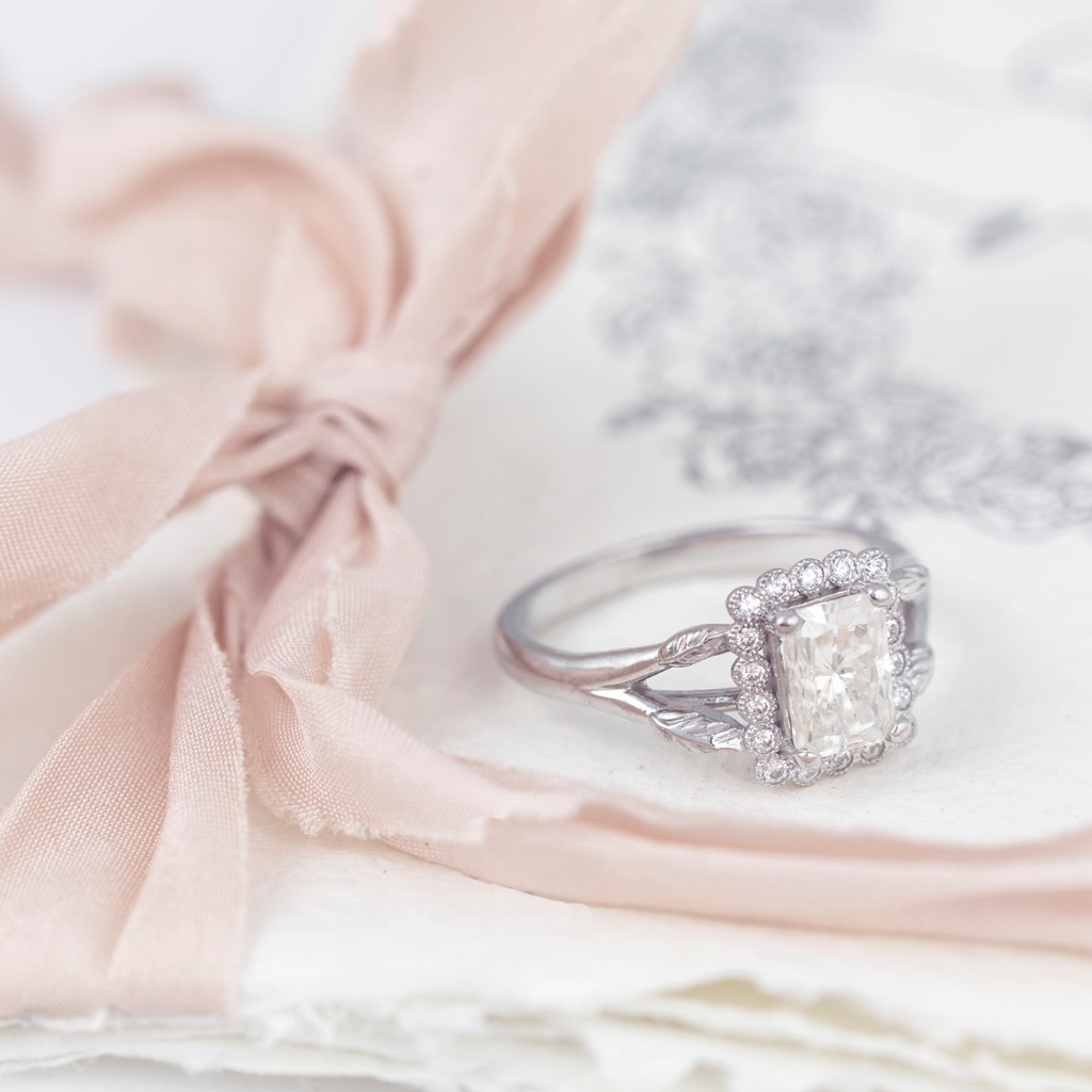 ll kinds of wonderful...Our Vivienne Ring with an emerald cut diamond and vintage inspired halo.