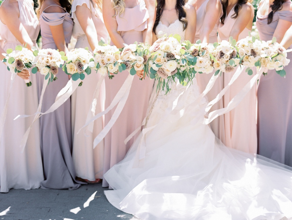 the most dreamy palette 💘 featuring our sabine #jycsabine and blake #jycblake dresses in whipped apricot and fig #jennyyoobridesmaids