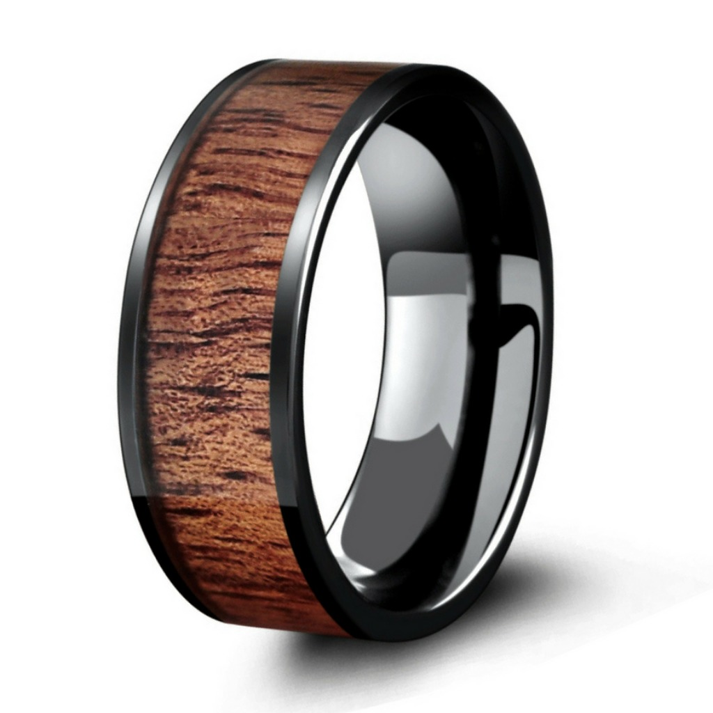 Mens woodland wedding ring. A ring designed for the outdoorsman. This wood wedding ring is crafted out of black high tech ceramic and