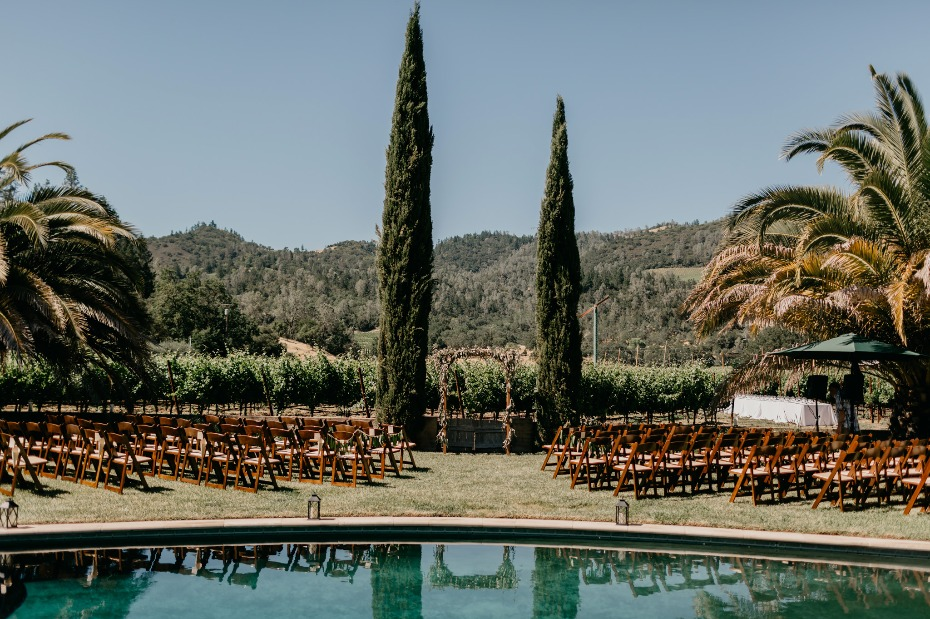 Poolside vineyard ceremony in Napa Valley